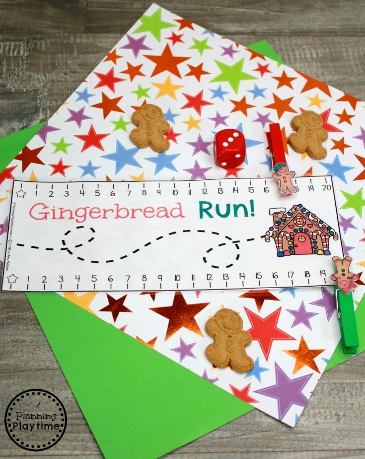 Gingerbread Man Counting Game for Preschool - Roll and Count #gingerbreadmanprintables #gingerbreadmanworksheets #gingerbreadmantheme #preschool #preschoolworksheets #planningplaytime