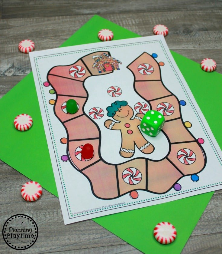 Gingerbread Man Game and other fun Preschool Printables for Gingerbread Theme #gingerbreadmanprintables #gingerbreadmanworksheets #gingerbreadmantheme #preschool #preschoolworksheets #planningplaytime