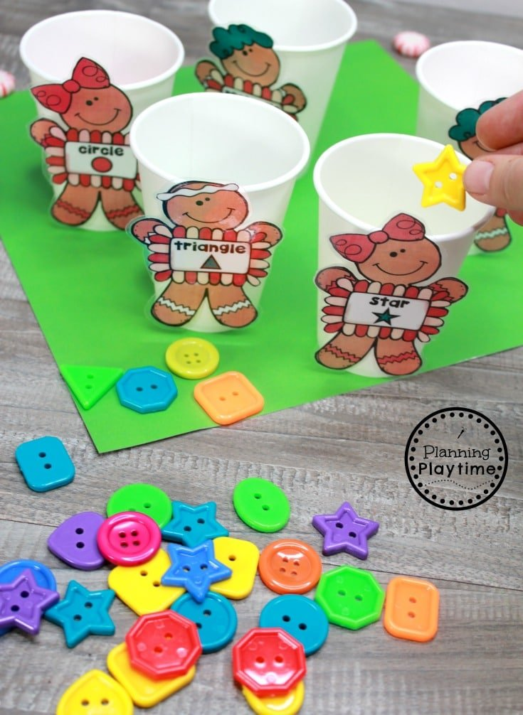Gingerbread Man Printables and Centers - Shape Sorting #gingerbreadmanprintables #gingerbreadmanworksheets #gingerbreadmantheme #preschool #preschoolworksheets #planningplaytime