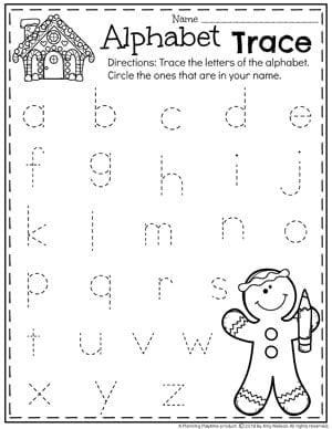 Gingerbread Worksheets for Preschool - Lowercase Letter Tracing #gingerbreadmanprintables #gingerbreadmanworksheets #gingerbreadmantheme #preschool #preschoolworksheets #planningplaytime