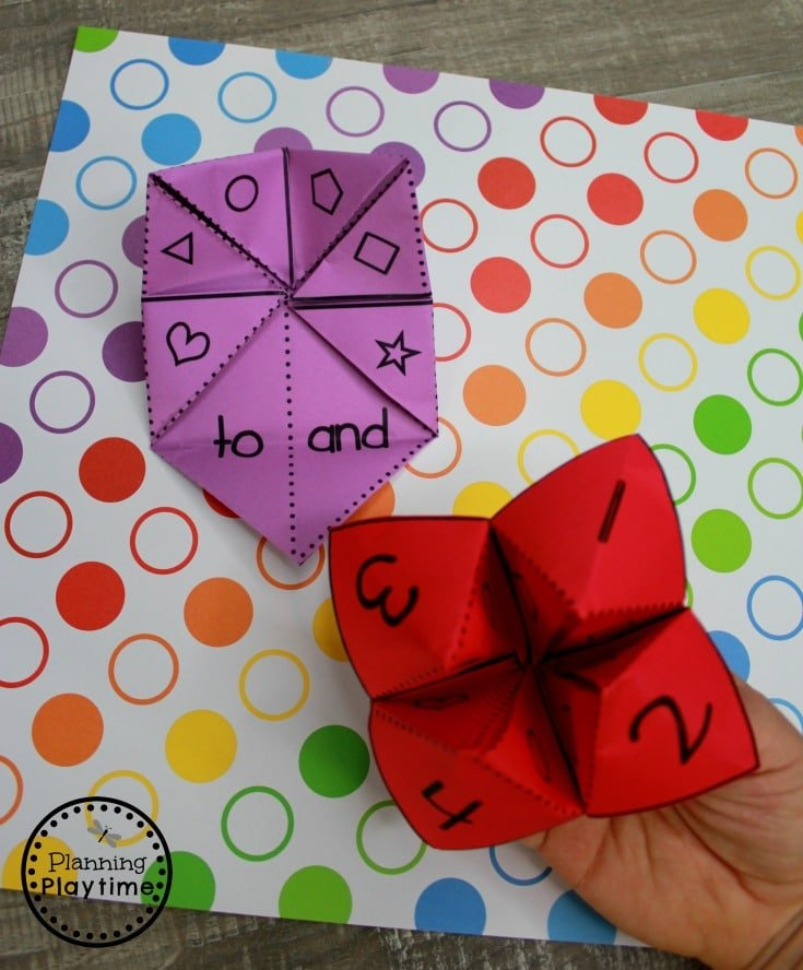 Kindergarten Sight Words Game - Sight Words Fortune Tellers #sightwords #sightwordsworksheets #literacyworksheets #kindergartenworksheets #planningplaytime