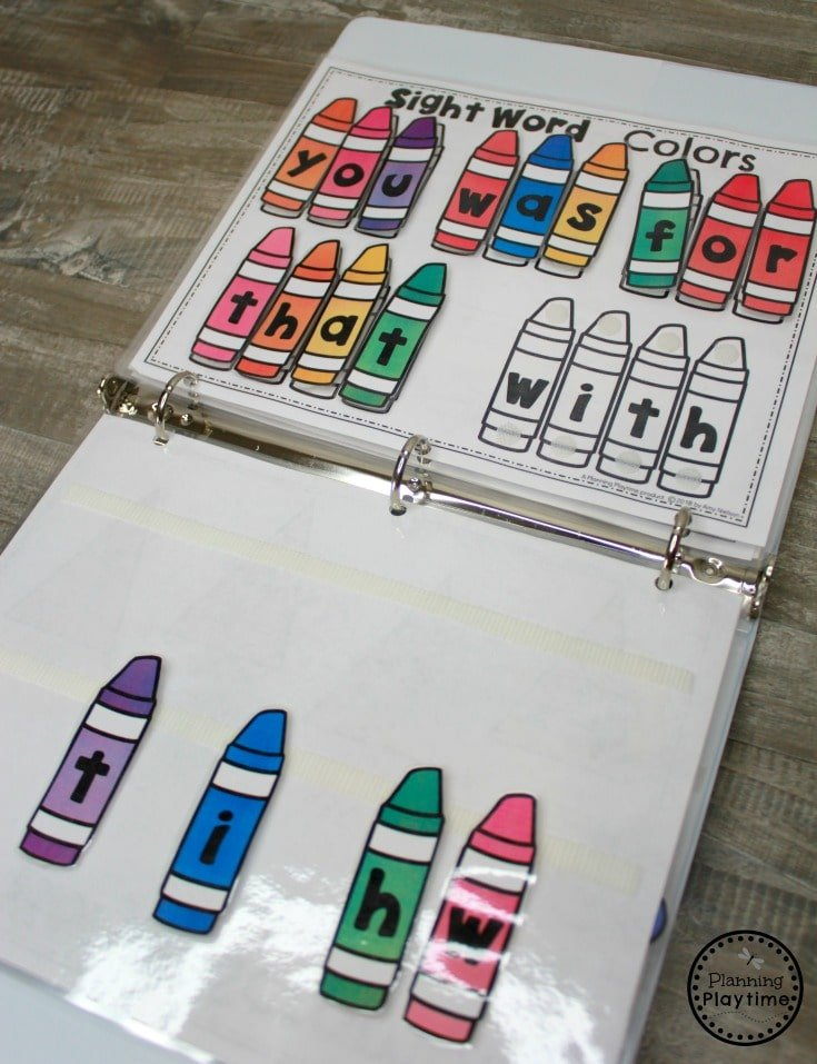 Kindergarten Sight Words - Interactive Binder Games #sightwords #sightwordsworksheets #literacyworksheets #kindergartenworksheets #planningplaytime