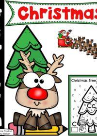 Preschool Christmas Worksheets - Christmas Tree Letter Find #preschoolworksheets #preschoolprintables #christmasworksheets #letterworksheets #planningplaytime