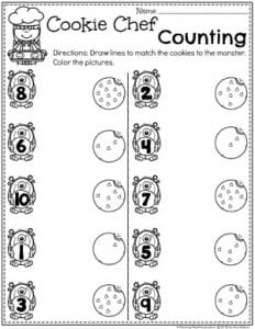 Preschool Counting Worksheets - Baking Theme