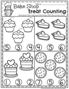 Preschool Counting Worksheets - Baking Treats theme