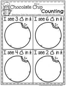 Preschool Counting Worksheets - Counting Chocolate chips