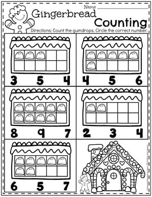 Preschool Counting Worksheets - Gingerbread Theme I #gingerbreadmanprintables #gingerbreadmanworksheets #gingerbreadmantheme #preschool #preschoolworksheets #planningplaytime