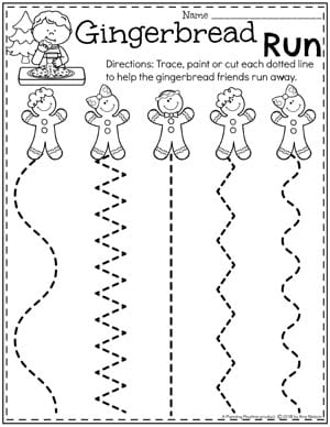 Preschool Cutting Worksheets - Preschool Gingerbread Theme #gingerbreadmanprintables #gingerbreadmanworksheets #gingerbreadmantheme #preschool #preschoolworksheets #planningplaytime