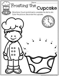 Preschool Dot to Dot Coloring Page - Cupcake Baking
