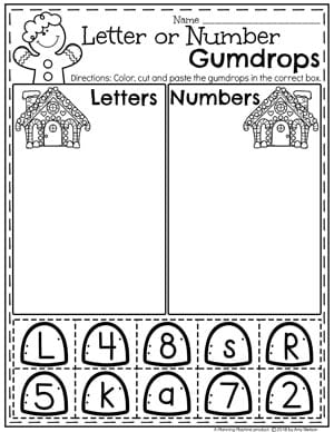 Preschool Gingerbread Worksheets - Letter or Number Sort #gingerbreadmanprintables #gingerbreadmanworksheets #gingerbreadmantheme #preschool #preschoolworksheets #planningplaytime