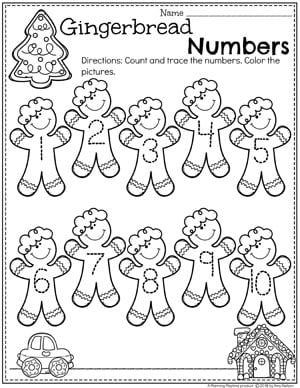 Preschool Gingerbread Worksheets - Number Tracing #gingerbreadmanprintables #gingerbreadmanworksheets #gingerbreadmantheme #preschool #preschoolworksheets #planningplaytime