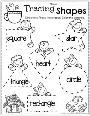 Preschool Gingerbread Worksheets - Tracing Shapes #gingerbreadmanprintables #gingerbreadmanworksheets #gingerbreadmantheme #preschool #preschoolworksheets #planningplaytime
