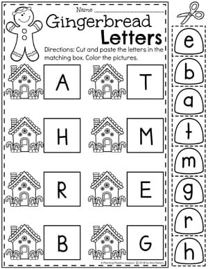 Preschool Letter Matching Worksheets - Gingerbread Theme #gingerbreadmanprintables #gingerbreadmanworksheets #gingerbreadmantheme #preschool #preschoolworksheets #planningplaytime
