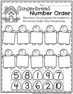 Preschool Math Worksheets in a fun Gingerbread Theme #gingerbreadmanprintables #gingerbreadmanworksheets #gingerbreadmantheme #preschool #preschoolworksheets #planningplaytime