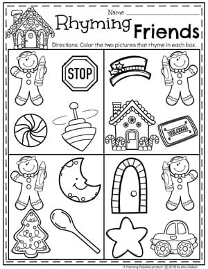 Preschool Rhyming Words Worksheet - Gingerbread Theme #gingerbreadmanprintables #gingerbreadmanworksheets #gingerbreadmantheme #preschool #preschoolworksheets #planningplaytime