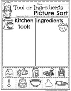 Preschool Sorting Worksheets - Baking Theme