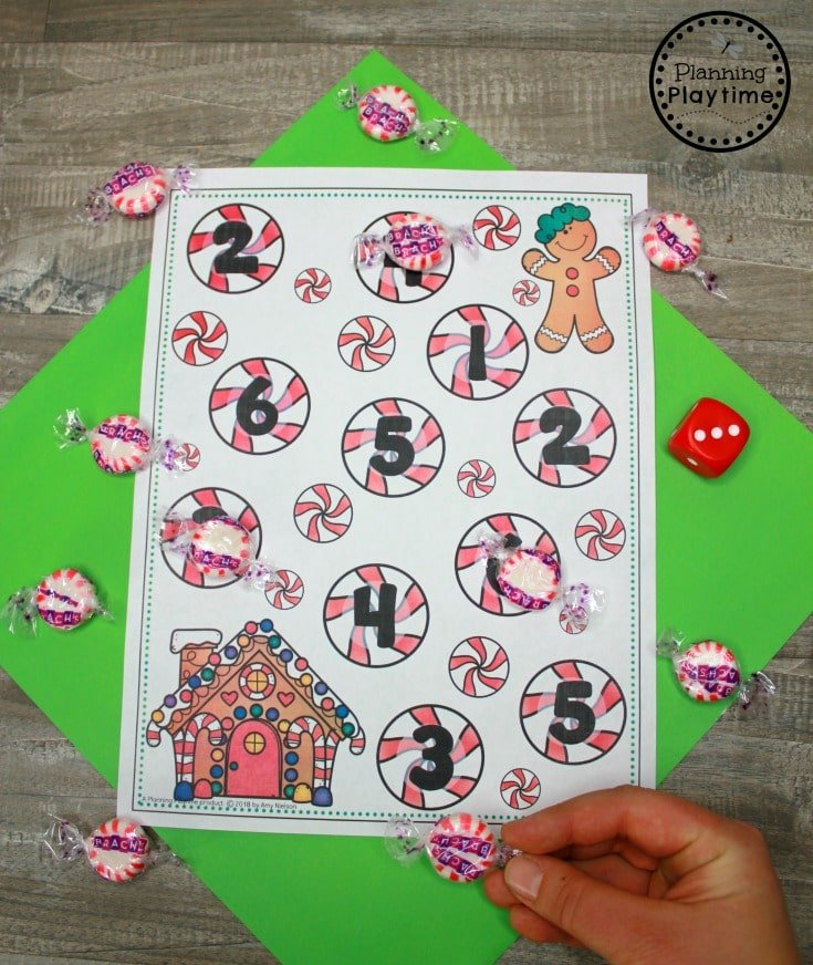 Roll and Cover Counting Game - Gingerbread Man Printables #gingerbreadmanprintables #gingerbreadmanworksheets #gingerbreadmantheme #preschool #preschoolworksheets #planningplaytime