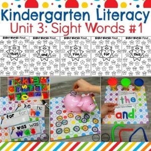 Sight Words for Kindergarten Worksheets and Activities