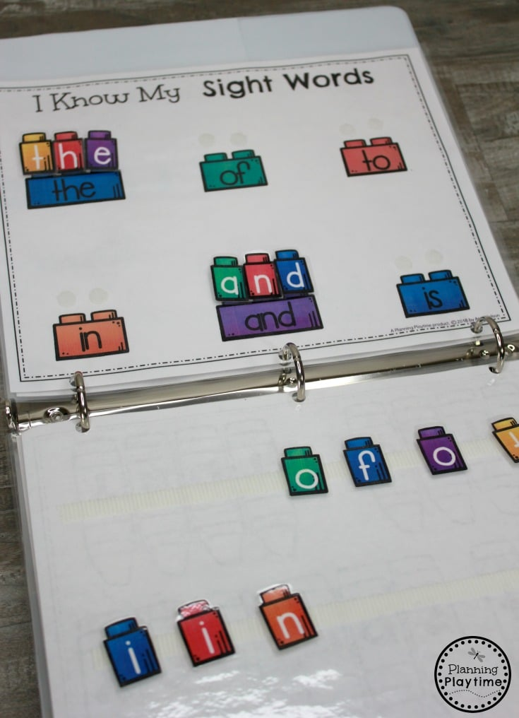 Sight Words for Kindergarten - Fun Interactive Binder #sightwords #sightwordsworksheets #literacyworksheets #kindergartenworksheets #planningplaytime