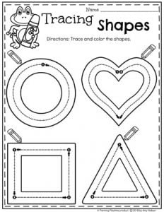 2D Shapes Tracing Worksheets for Preschool #preschoolworksheets #2dshapes #shapesworksheets #planningplaytime