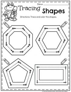 Preschool 2D Shapes Tracing Worksheets #preschoolworksheets #2dshapes #shapesworksheets #planningplaytime
