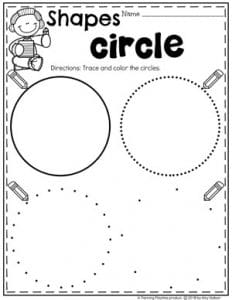 Preschool 2D Shapes Worksheets - Tracing Circles #preschoolworksheets #2dshapes #shapesworksheets #planningplaytime