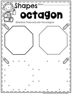 Preschool 2D Shapes Worksheets - Tracing Octagons #preschoolworksheets #2dshapes #shapesworksheets #planningplaytime