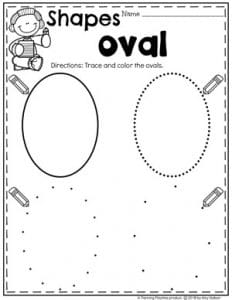 Preschool 2D Shapes Worksheets - Tracing Ovals