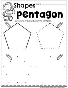 Preschool 2D Shapes Worksheets - Tracing Pentagon