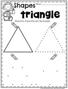 Preschool 2D Shapes Worksheets - Tracing Triangles #preschoolworksheets #2dshapes #shapesworksheets #planningplaytime