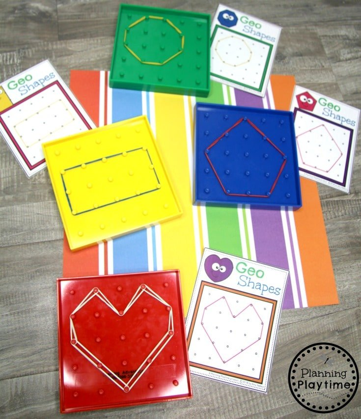 Preschool Shapes Activities - Geoboard Shape Making