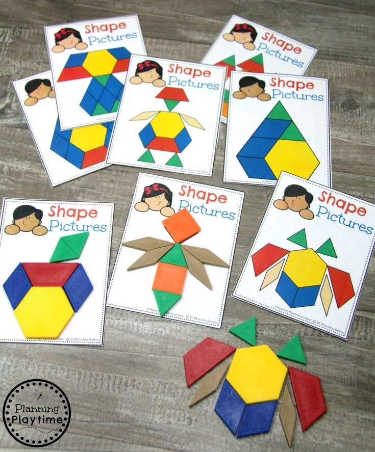 Preschool Shapes Activities - Pattern Block Pictures #preschoolprintables #2dshapes #2dshapesprintables #planningplaytime