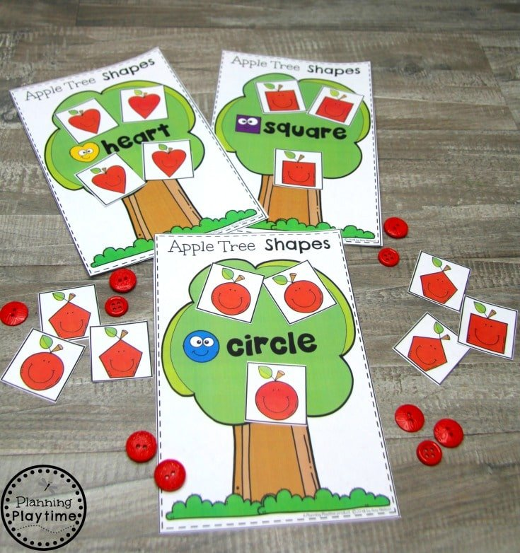 Preschool Shapes Printables - Apple tree Shapes #preschoolprintables #2dshapes #2dshapesprintables #planningplaytime