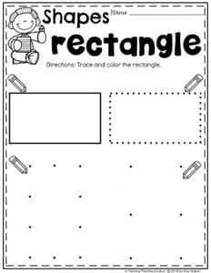 Preschool Shapes Worksheets - Tracing Rectangles