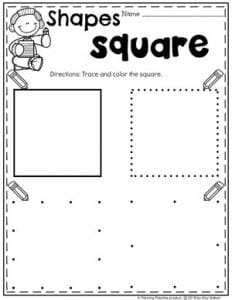 Preschool Shapes Worksheets - Tracing Squares #preschoolworksheets #2dshapes #shapesworksheets #planningplaytime