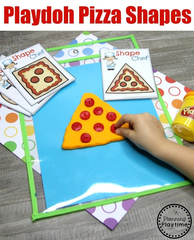 Preshool Shapes Games - Playdough Pizza Shapes #preschoolprintables #2dshapes #2dshapesprintables #planningplaytime