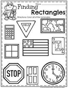 Rectangles Worksheets for Preschool #preschoolworksheets #2dshapes #shapesworksheets #planningplaytime