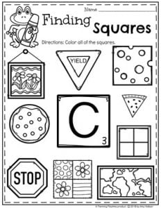 Squares Worksheets for Preschool