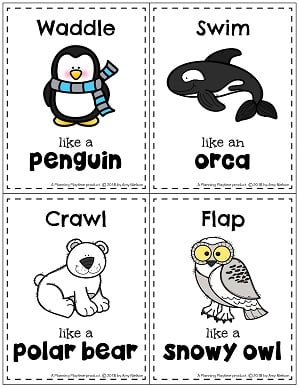 Arctic Animal Movement Task Cards #planningplaytime #arcticanimals #taskcards