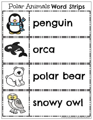 Arctic Animal Word Strips