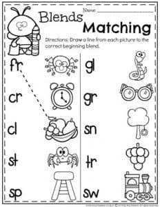 Beginning Blends Worksheets for Kids - Blends and Digraphs Unit #digraphs #wordwork #planningplaytime #kindergartenworksheets