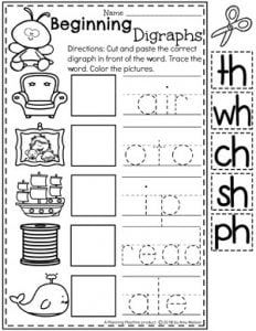 Beginning Digraphs Worksheets - Word Work #digraphs #wordwork #planningplaytime #kindergartenworksheets