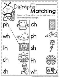 Beginning Digraphs Worksheets for Kids #digraphs #wordwork #planningplaytime #kindergartenworksheets