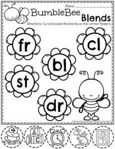 Blends Worksheets - Word Work Bumblebee theme b#digraphs #wordwork #planningplaytime #kindergartenworksheets