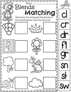 Blends Worksheets for Kids - Matching Blends to Pictures #digraphs #wordwork #planningplaytime #kindergartenworksheets