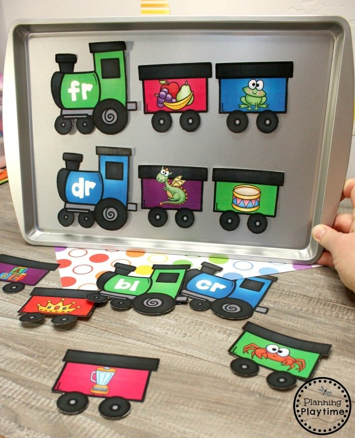 Blends and Digraphs Activities - Magnetic Blend Trains #digraphs #wordwork #planningplaytime