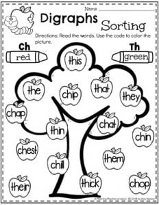 Digraph Worksheets - Sort and Color by Digraphs #digraphs #wordwork #planningplaytime #kindergartenworksheets