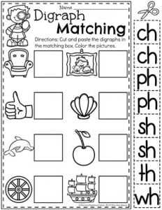 Digraph Worksheets for Kids - Matching Digraphs to Pictures #digraphs #wordwork #planningplaytime #kindergartenworksheets