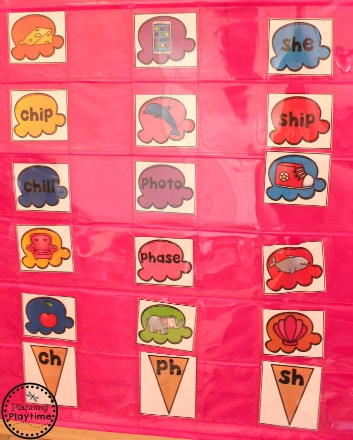 Digraphs Activities - Ice Cream Cone Sort Digraphs Pocket Chart