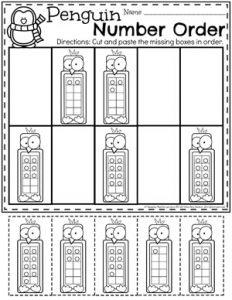 Penguin 10 Frame Number Order - Preschool Worksheets #arcticanimals #preschoolworksheets #planningplaytime #10frames